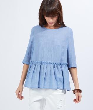 blouse-etam-peplum-bleue
